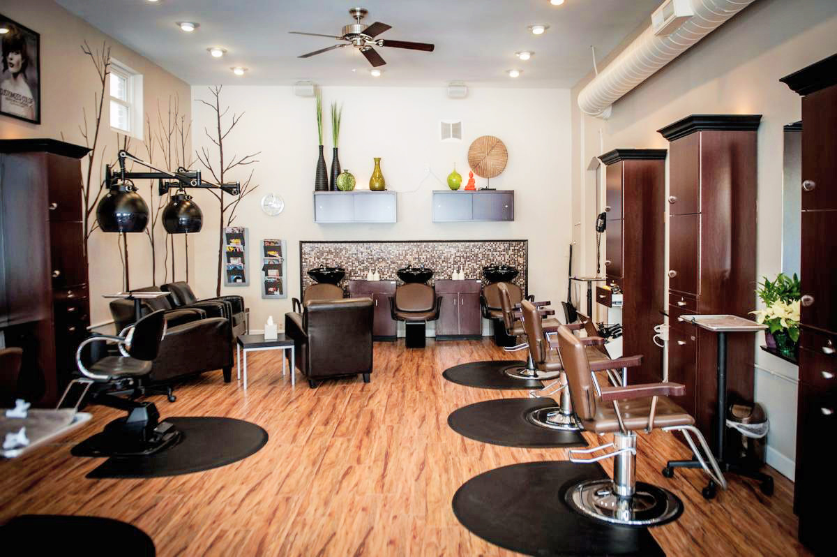 Salon La Terre hair stations and shampoo sinks