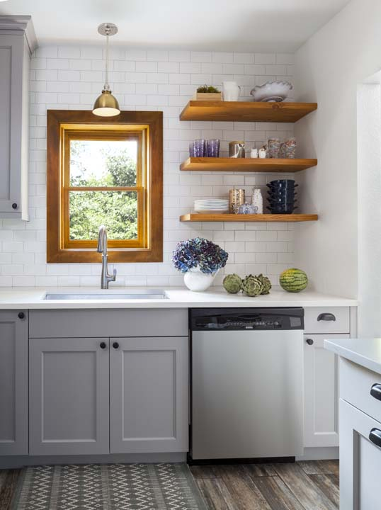 Modern kitchen, subway tile and exposed cupboard storage