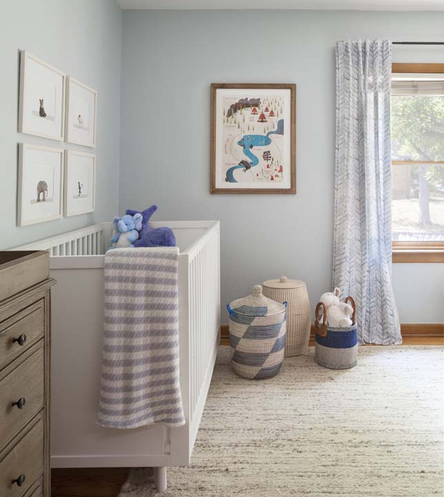 Light and bright baby nursery, with drapery by.... crib from..... etc.