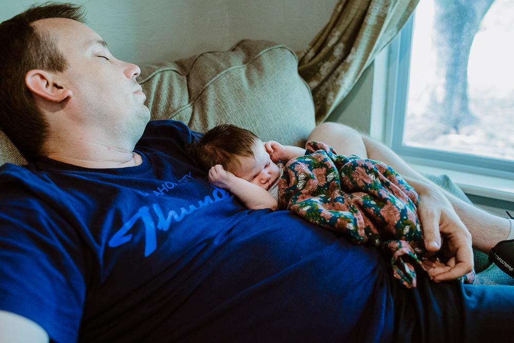 documentary lifestyle photo session father and sleeping infant child at home Ore Adesina Oklahoma City