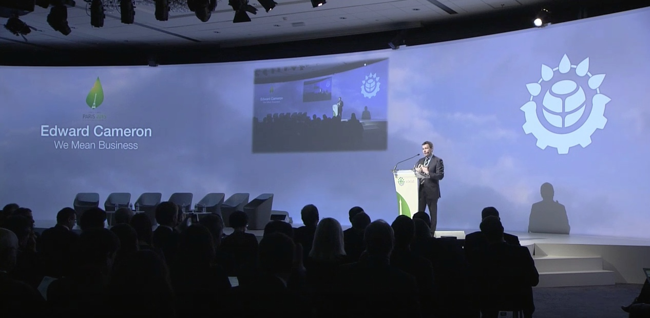 Edward speaking at the WBCSD Council meeting at COP21 in Paris. December, 2015.