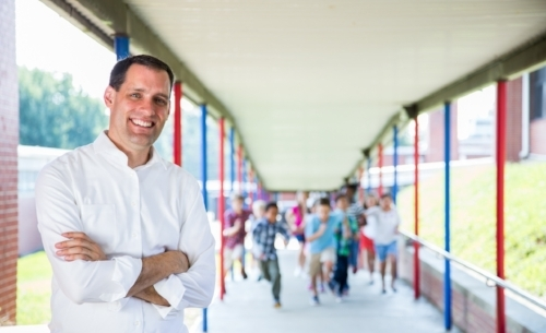 Meyer at an elementary school, from his campaign website.