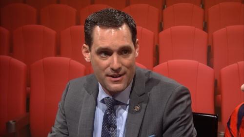 Meyer speaking on a UNCTV program, Front Row w/ Marc Rotterman