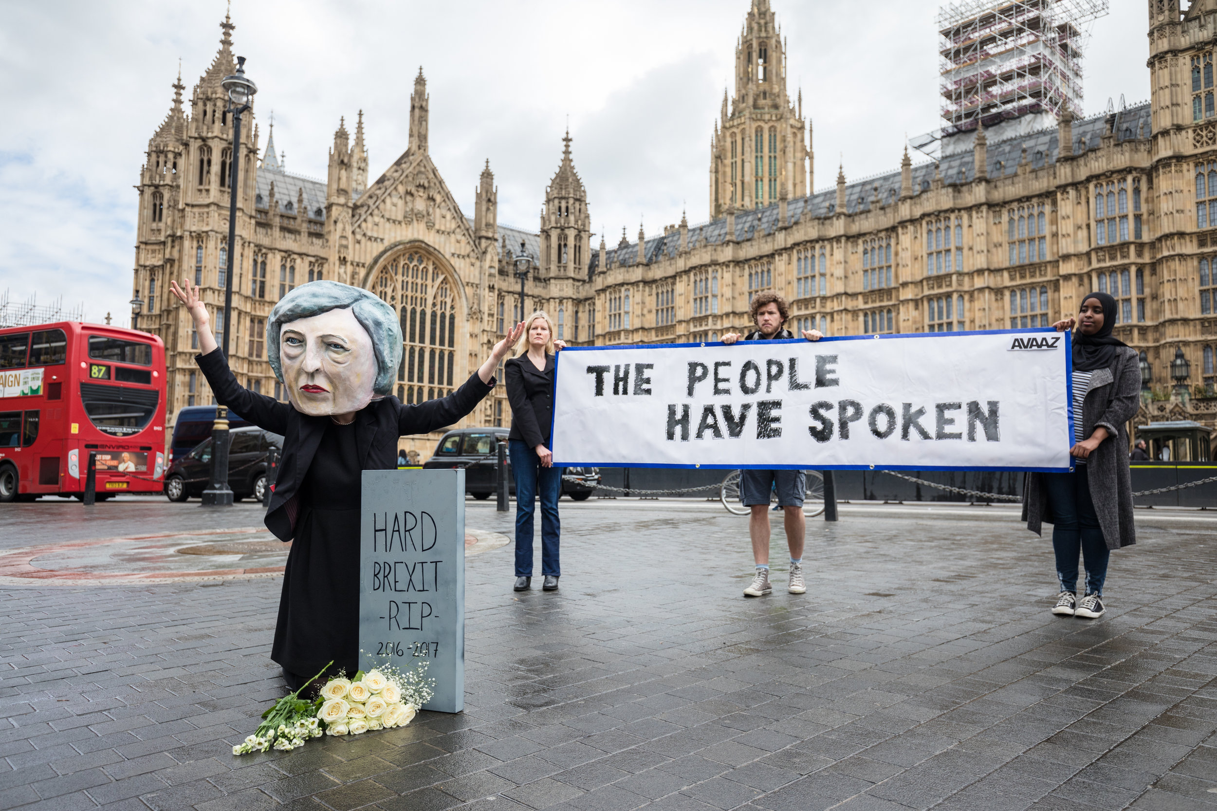 A demonstrator dressed as Prime Minister Theresa May protesting the day after May's Conservative Party lost its majority in Parliament ( source )