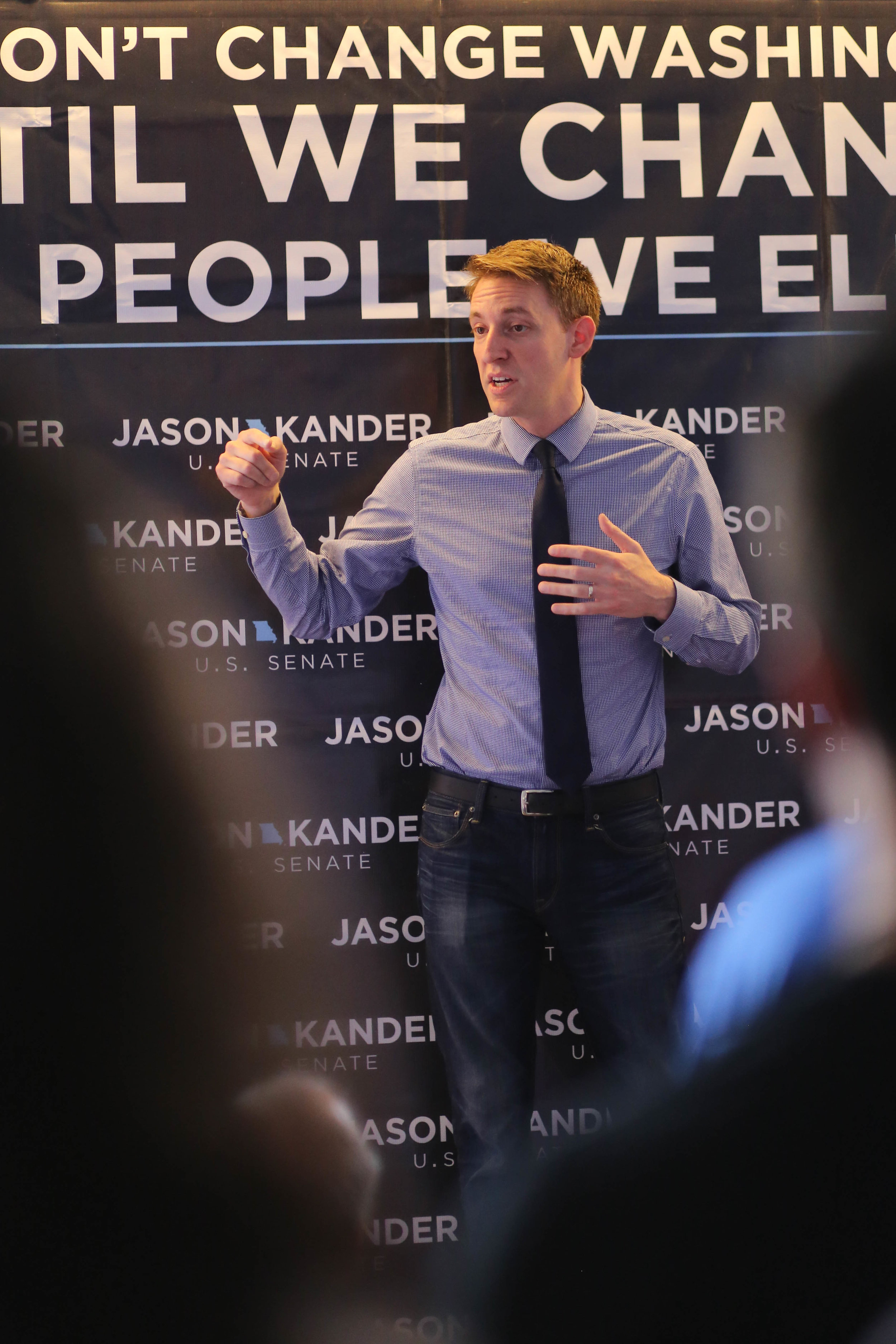 Kander campaigning in St. Louis in 2016 ( source )