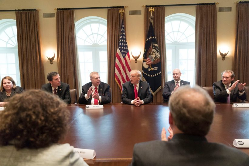President Trump announcing tariffs on steel and aluminum to the applause of industry executives in March ( source )