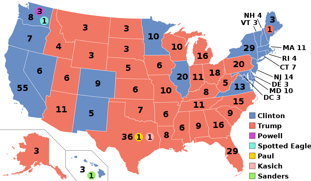 The electoral college's votes in the 2016 presidential election ( source )