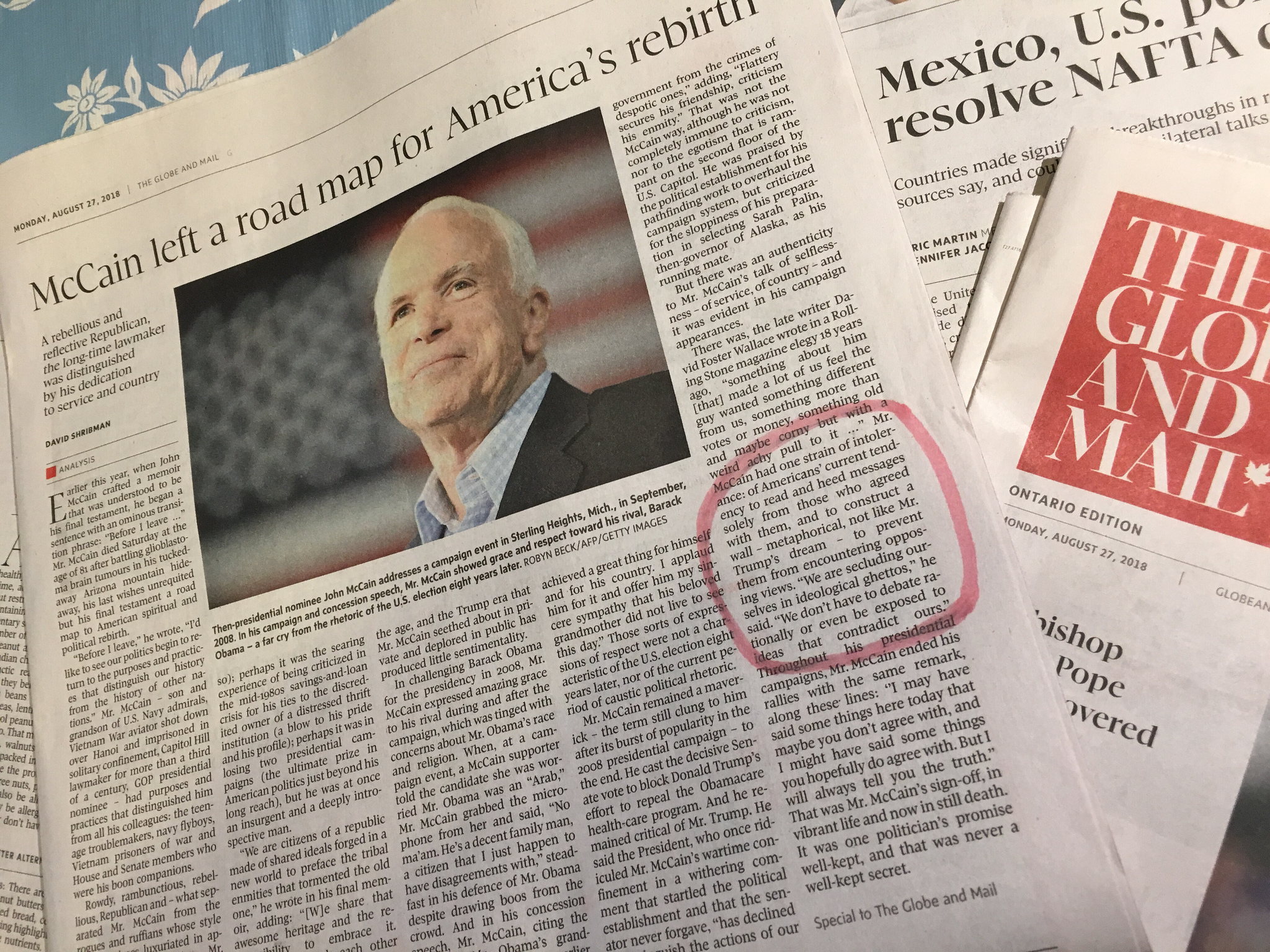 A tribute to McCain in  The Globe and Mail  ( source )