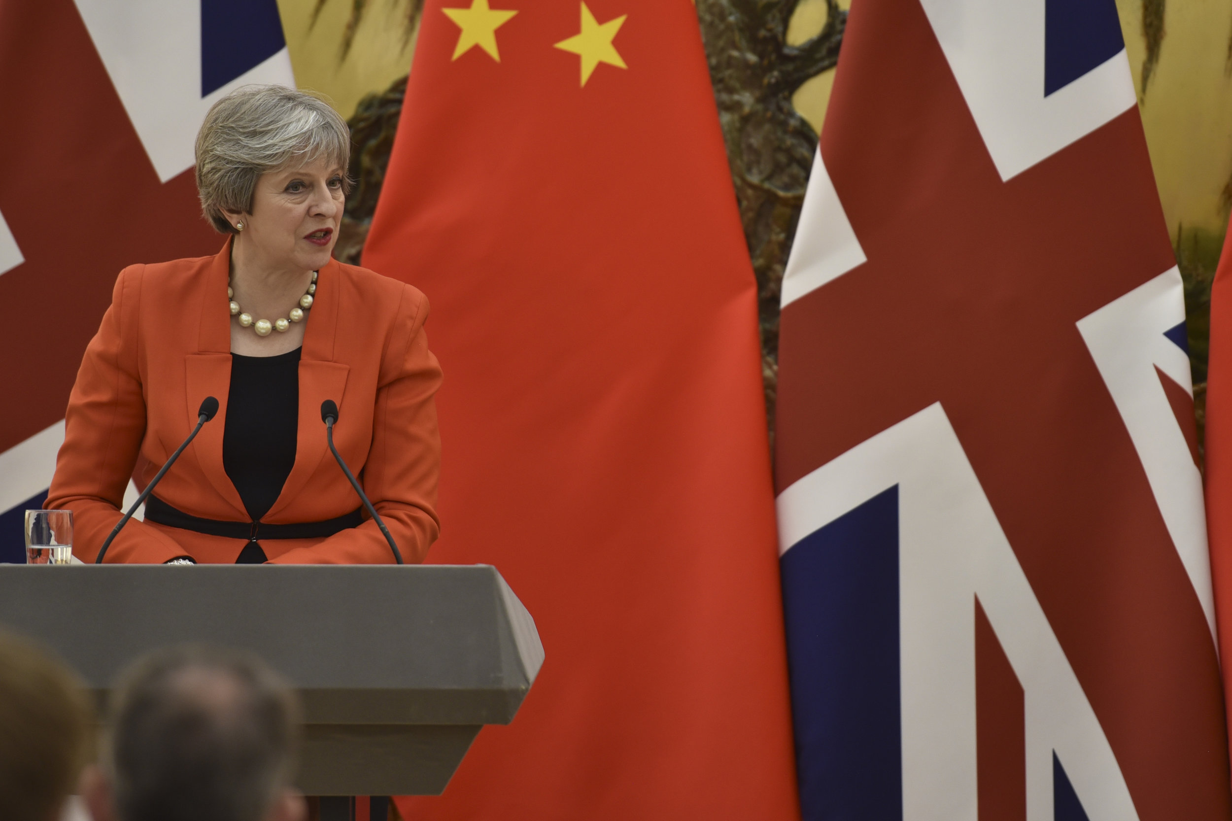 Prime Minister of the United Kingdom Theresa May speaks during a visit to China in January ( source )