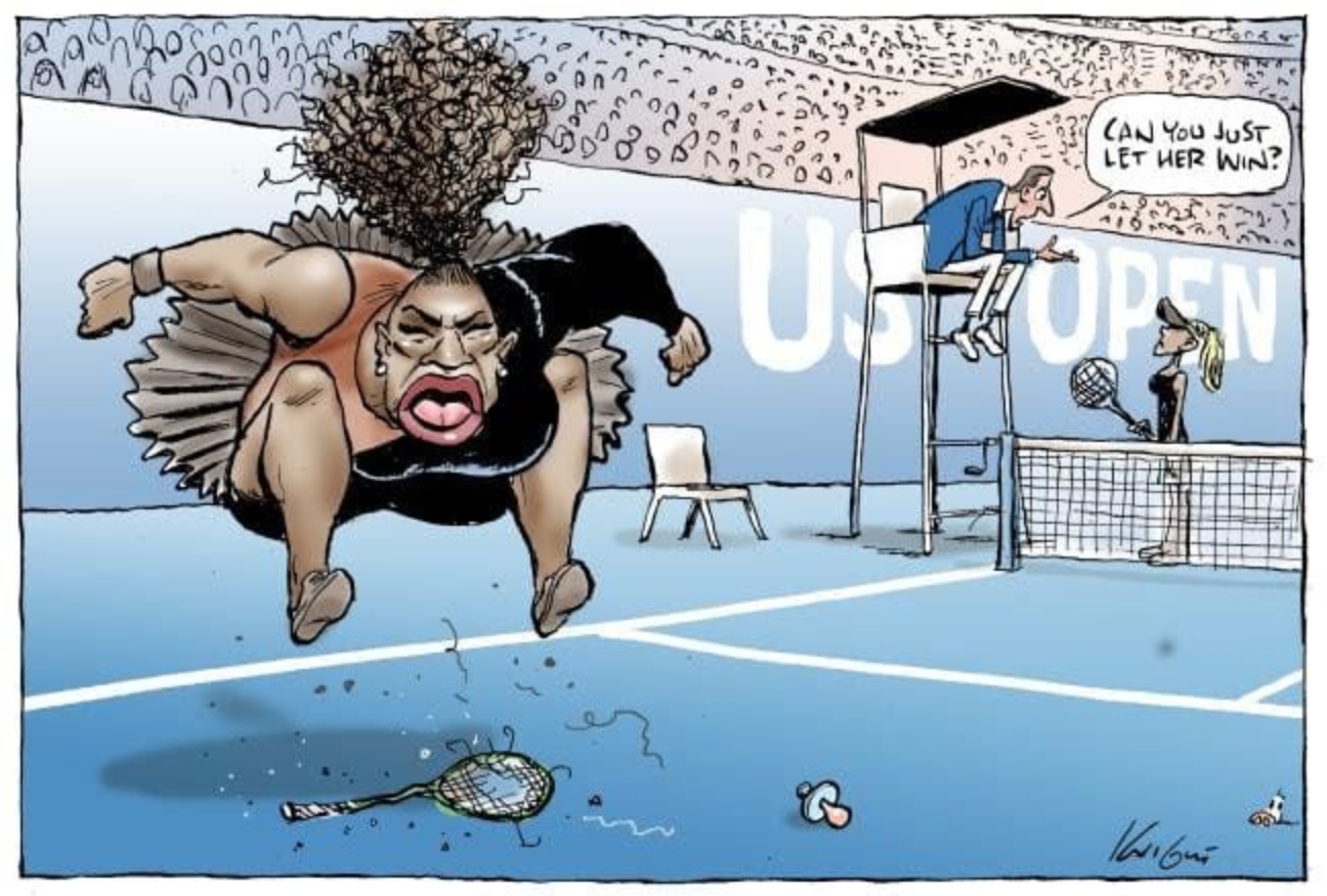 Mark Knight's cartoon depicting Serena Williams appearing in the Herald Sun last week ( source )