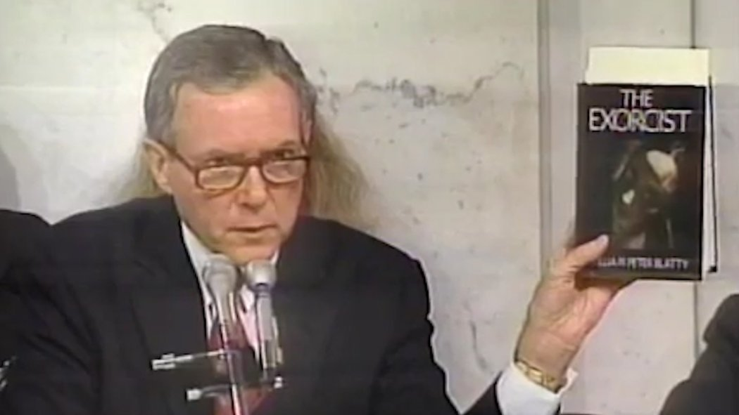 Senator Orrin Hatch holding a copy of  The Exorcist  during Clarence Thomas's confirmation hearings in 1991 ( source )