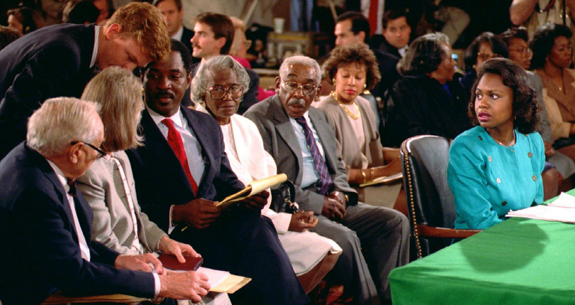 Anita Hill testifying during now-Supreme Court Associate Justice Clarence Thomas's confirmation hearings in 1991 ( source )