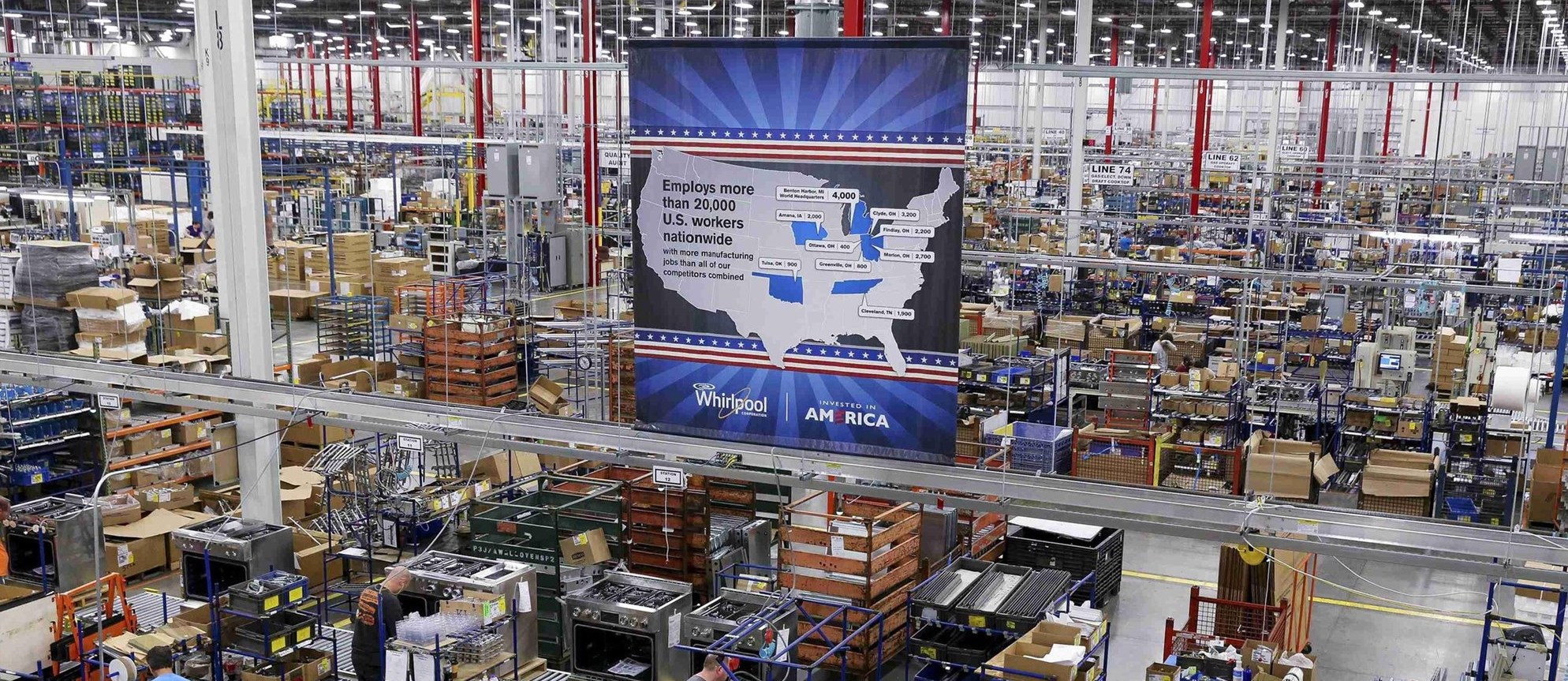 """One of Whirlpool Corporation's production centers boasting the company's """"Invested in America"""" initiative ( source )"""