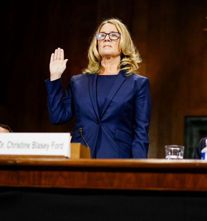 Dr. Christine Blasey Ford being sworn in ( source )
