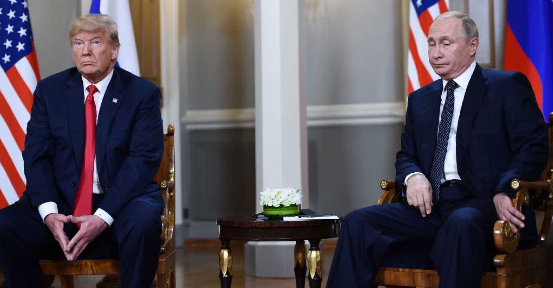 Presidents Trump and Putin at the Helsinki summit in June of this year ( Image )