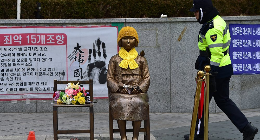 The Statue of Peace dedicated to the comfort women of World War II facing the Embassy of Japan in Seoul, South Korea ( Image )