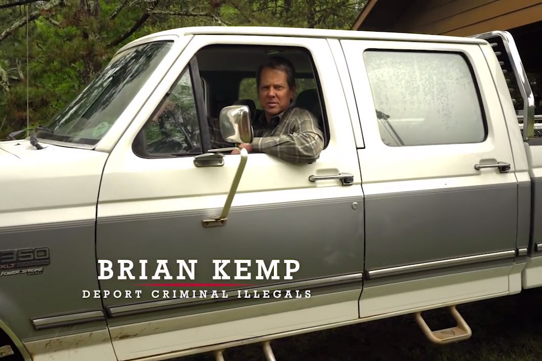 A frame from one of Brian Kemp's campaign ads ( Image )