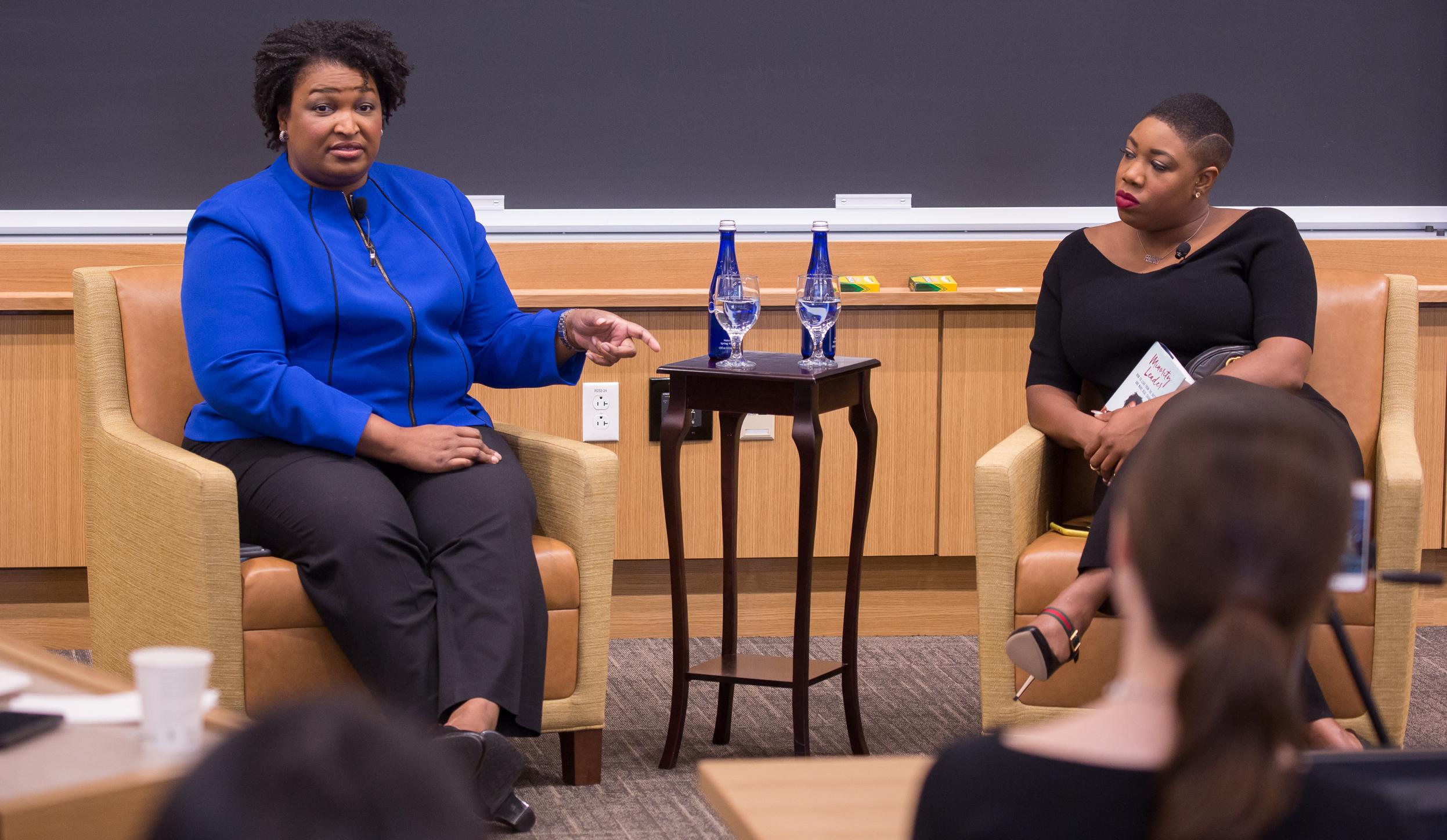 Georgia gubernatorial candidate Stacey Abrams speaking at Harvard University earlier this year ( Image )