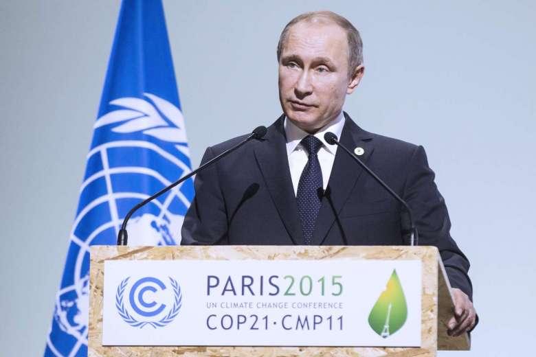 Russian President Vladimir Putin speaking at COP21 ( Image )