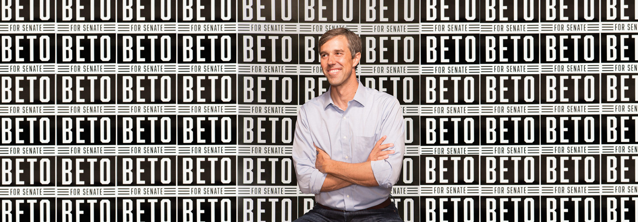 Beto O'Rourke in front of signs for his Senate campaign against Ted Cruz that ended in a loss last Tuesday ( Image )