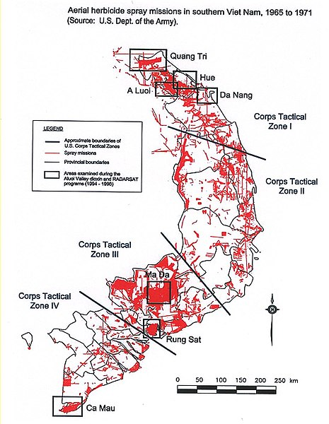 A map of the US spray missions in Southern Vietnam during the Vietnam War ( source )