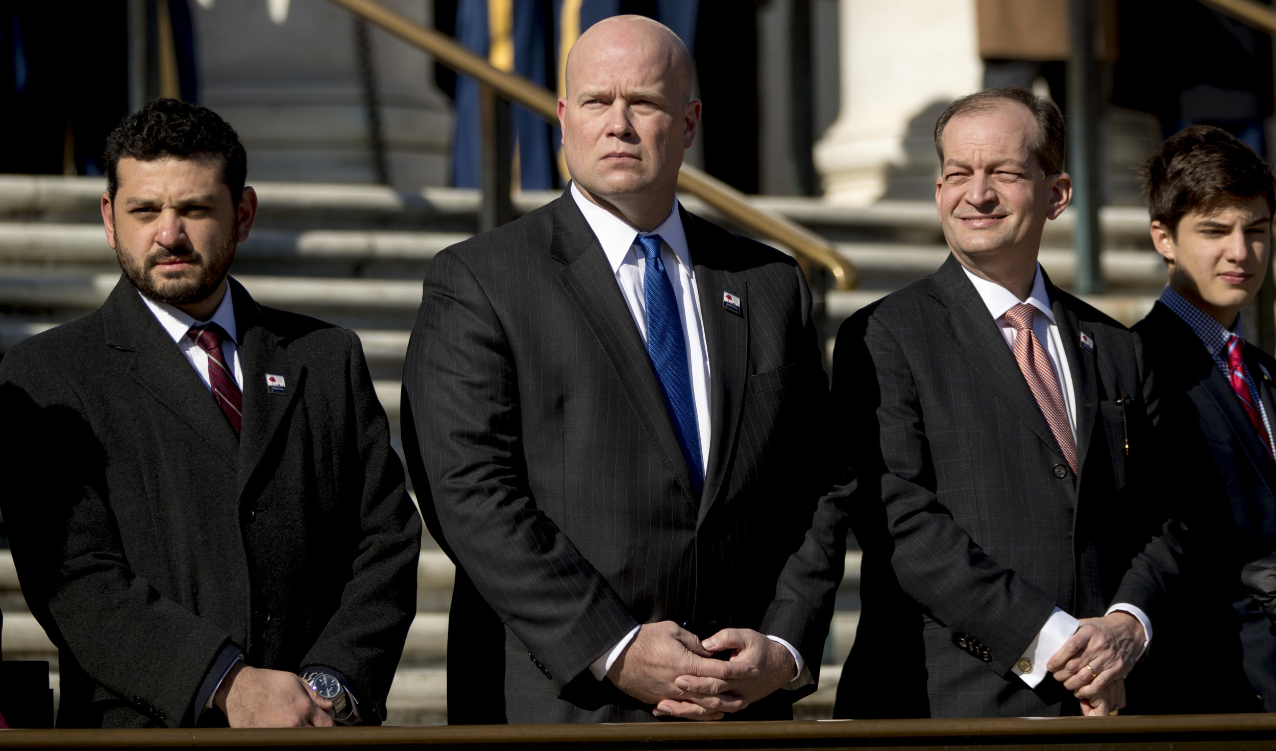 Acting Attorney General Matthew Whitaker attending a Veterans Day ceremony in Arlington, Virginia last week ( Image )