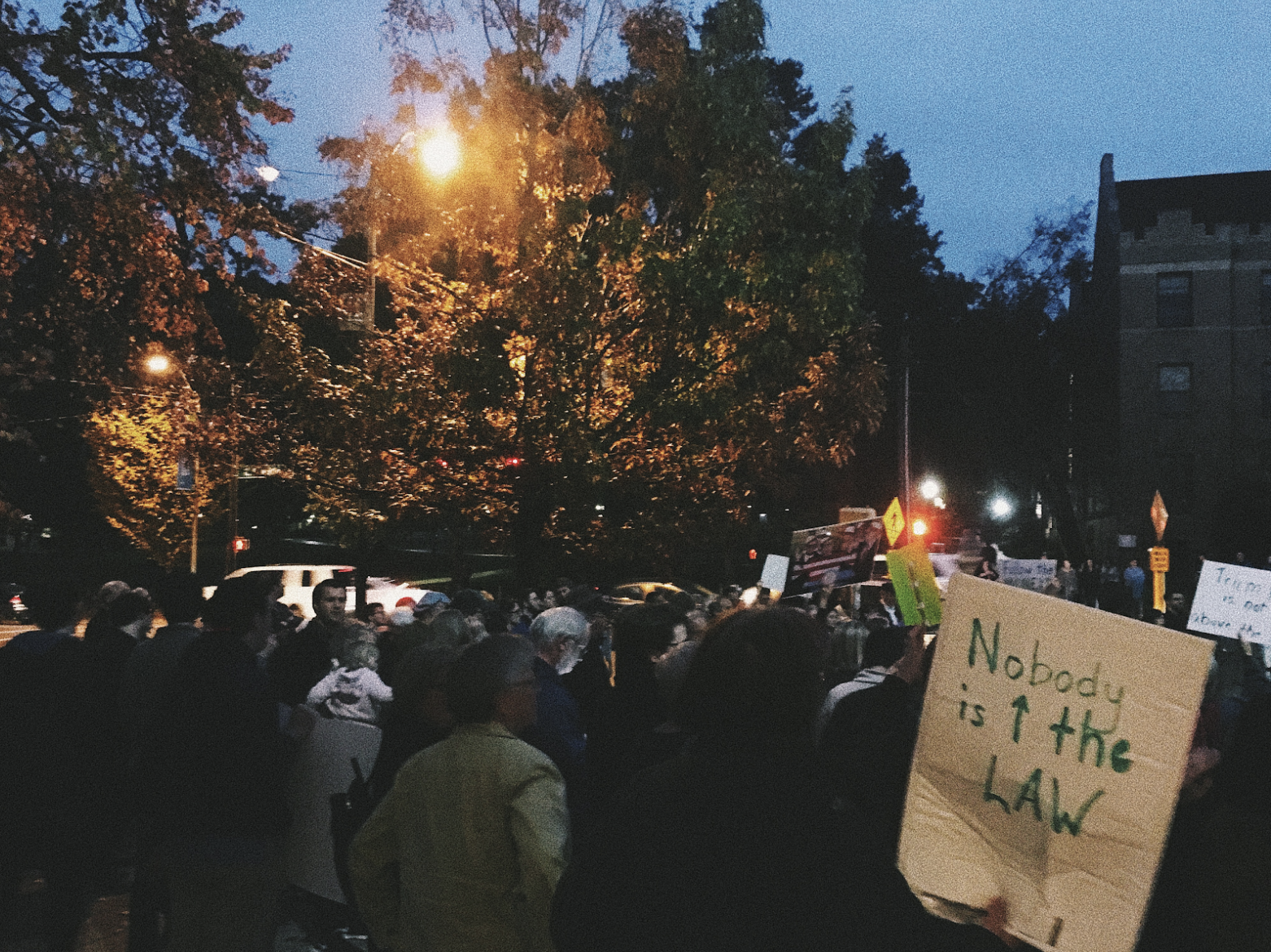 Demonstrators gather on Franklin Street last Thursday following Whitaker's appointment (Image: Nick Battaile)