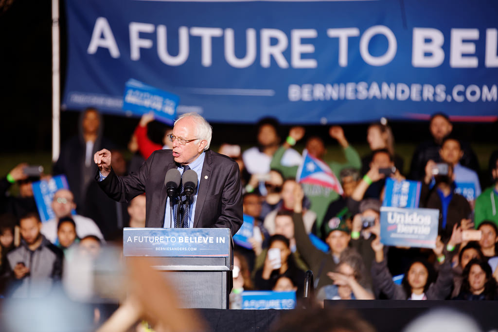Bernie Sanders campaigning in 2016. Sanders is considered to be a prominent far-left figure within the Democratic Party. ( source )