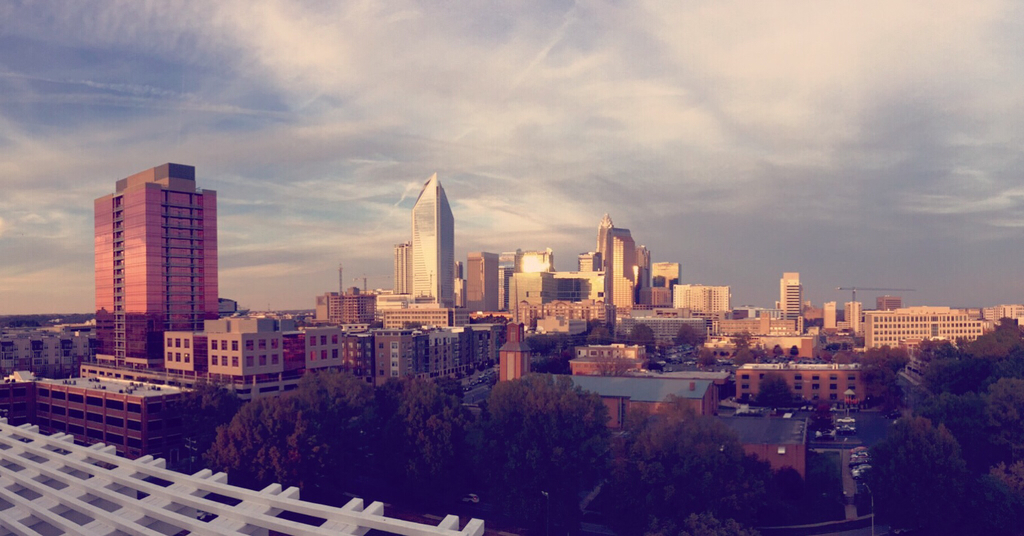 Charlotte skyline as seen from near the intersection of South Boulevard and East Boulevard (Image: Patrick Bradey)