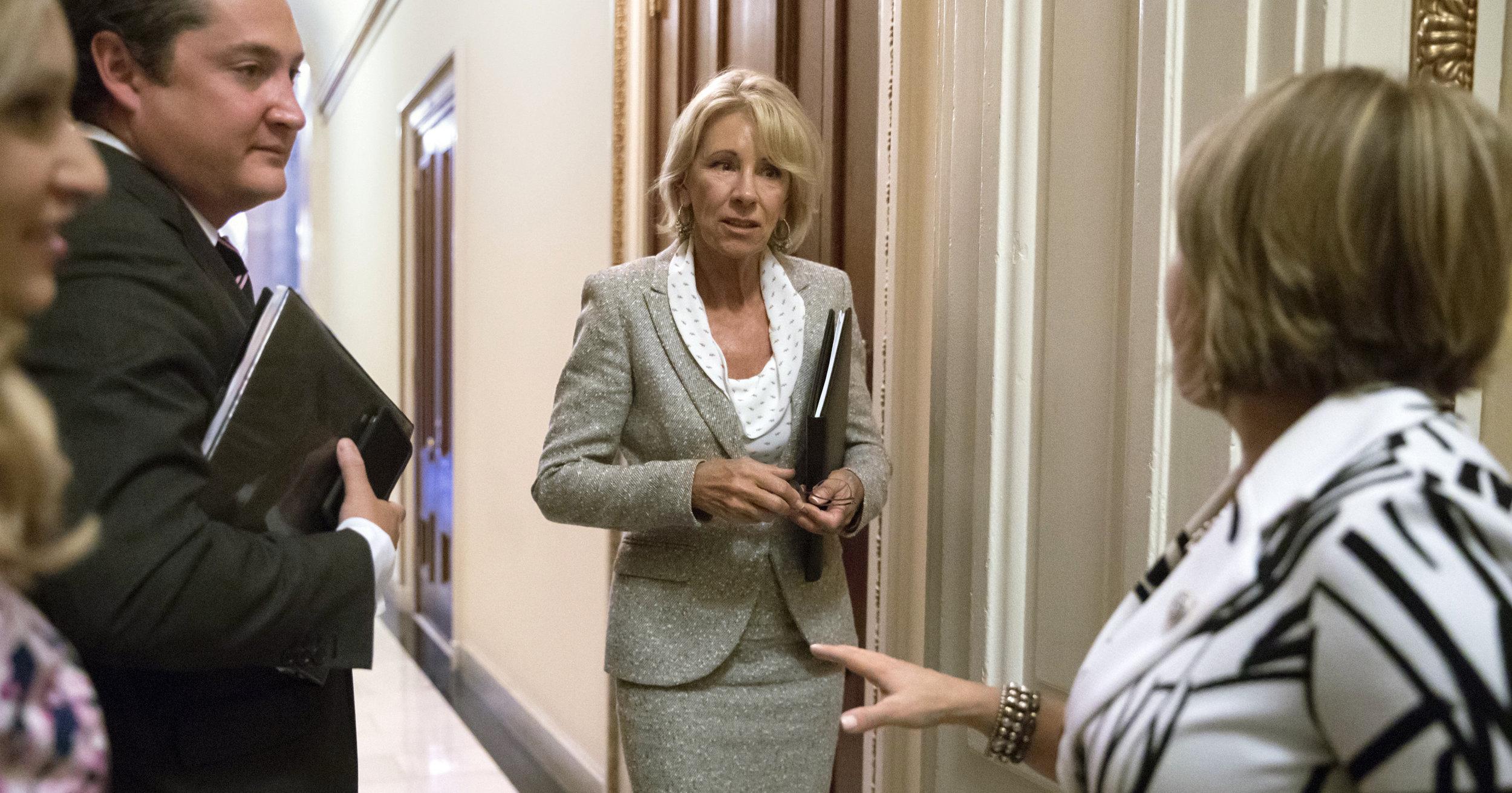 Secretary of Education Betsy DeVos at the Capitol ( Image )
