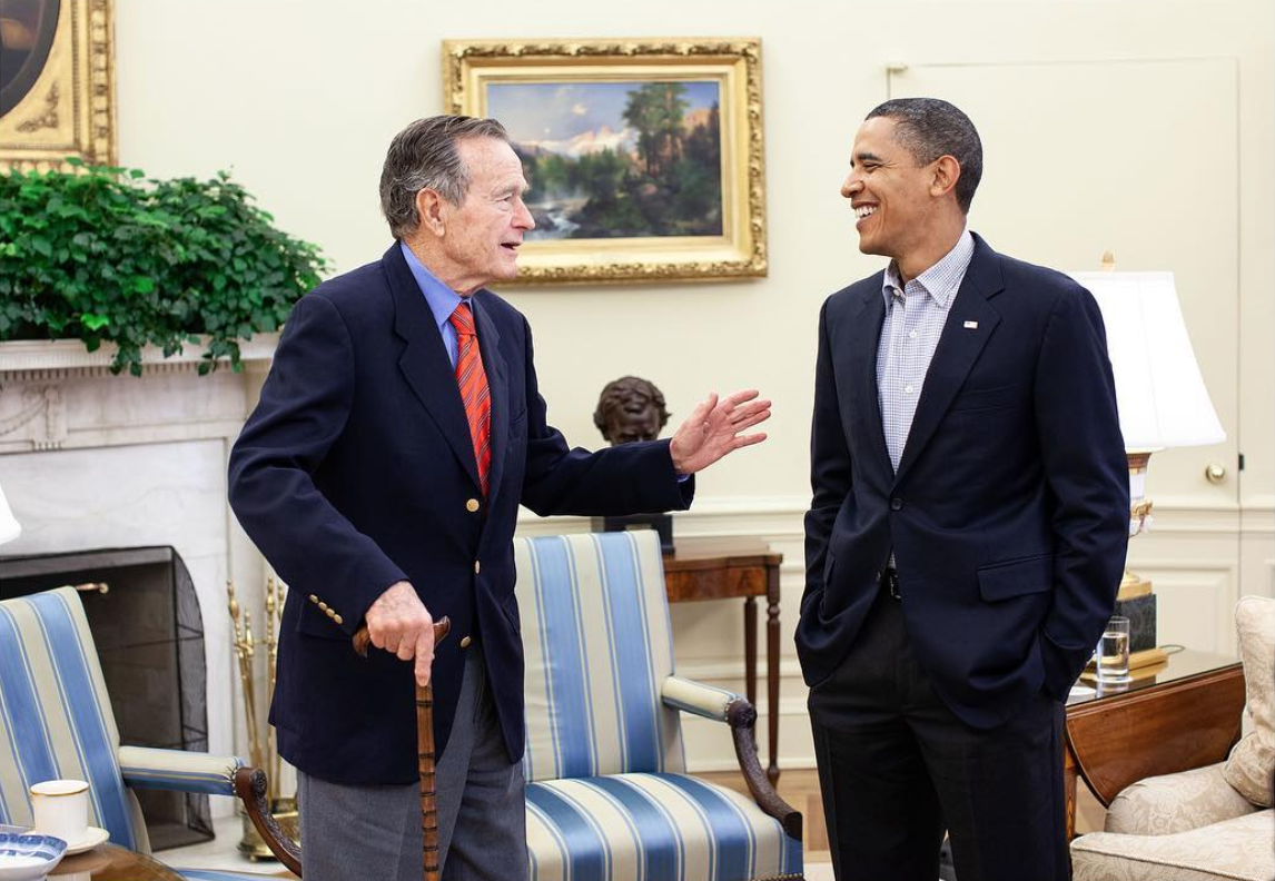 Obama with former 41st President George H. W. Bush, who passed in November, in 2009 ( Image )