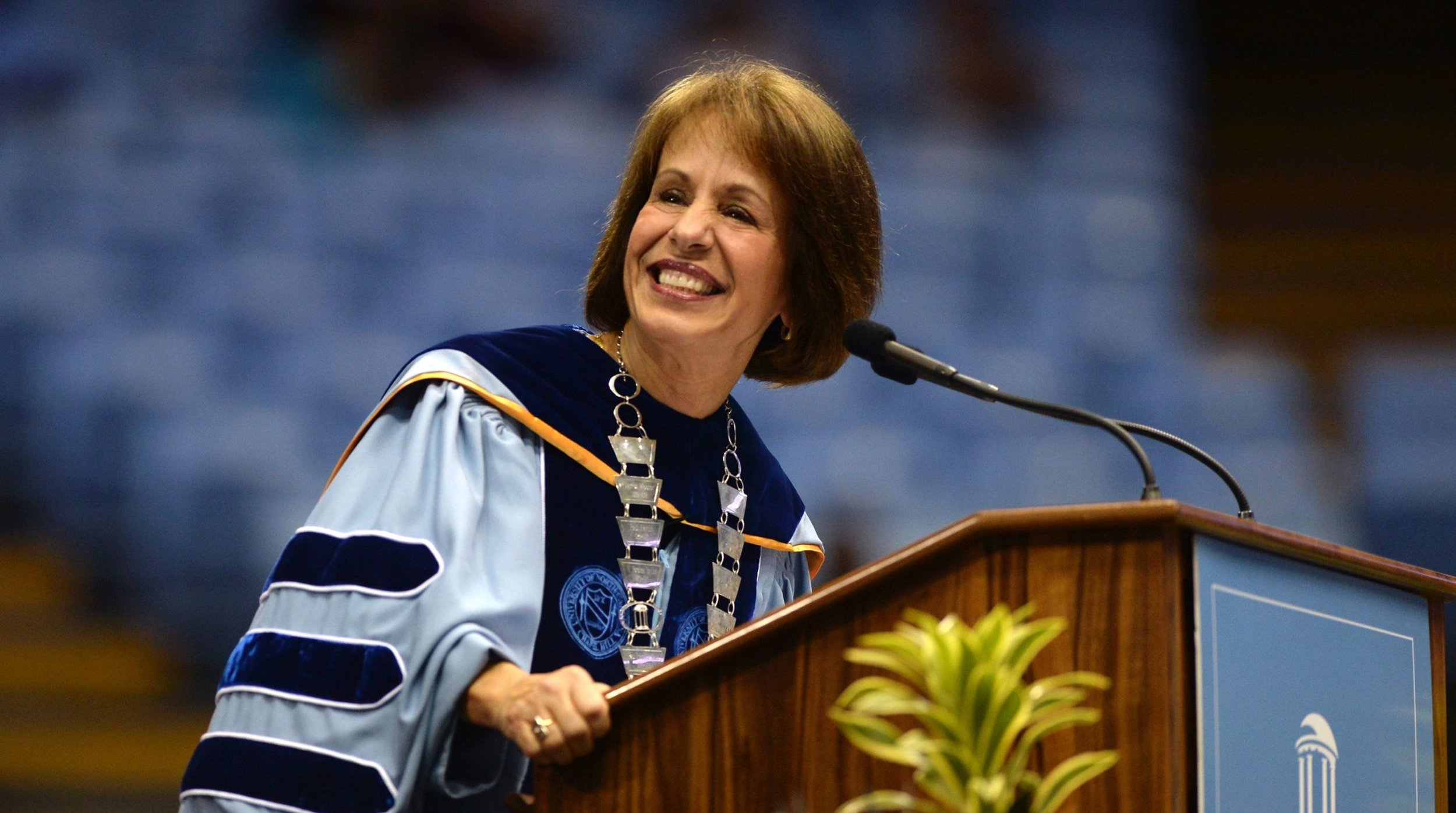 Chancellor Carol Folt, who will be resigning on January 31st, speaking at UNC's 2015 winter commencement ( Image )