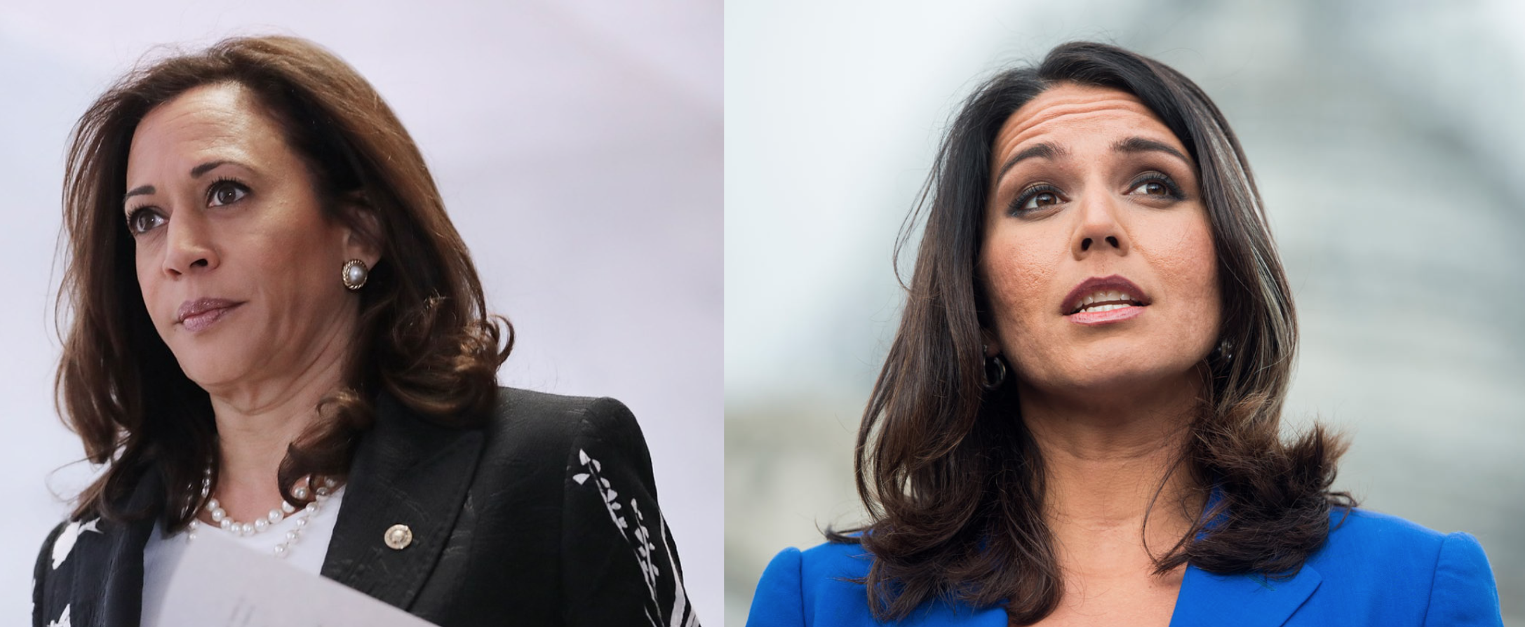 Senator Kamala Harris (D-CA) and Representative Tulsi Gabbard (D-HI), both of whom recently announced their intentions to run for president ( Image ,  Image )