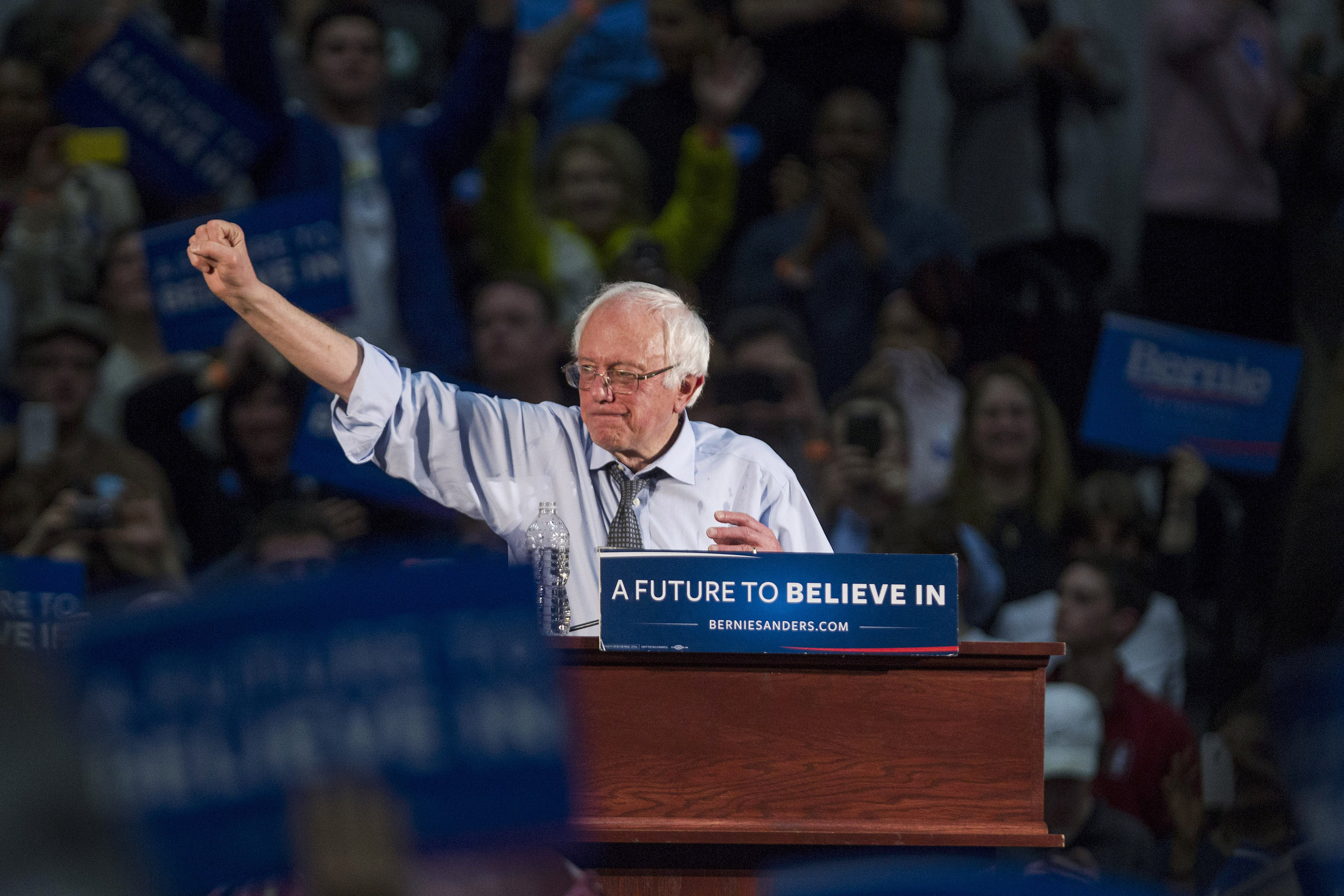 Then-presidential candidate Bernie Sanders speaks at a campaign rally in Massachusetts in February 2016 ( Image )