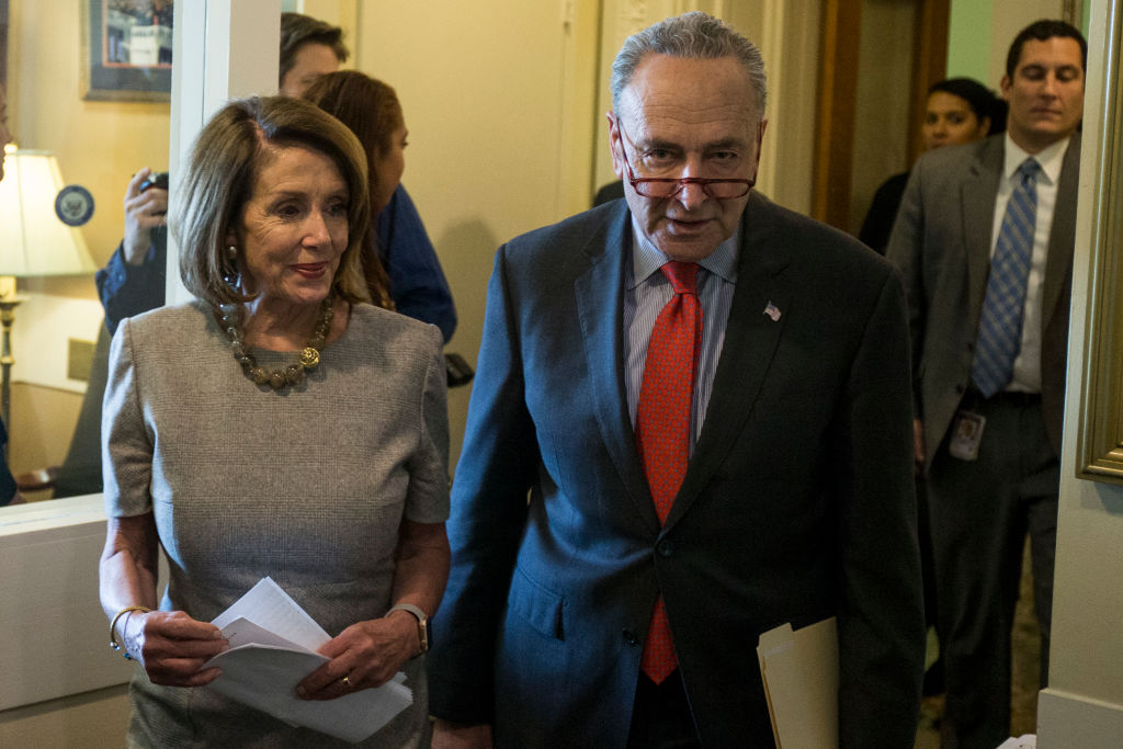 Speaker of the House Nancy Pelosi (D-CA) and Senate Majority Leader Chuck Schumer (D-NY), both of whom have spoken out against President Trump's national emergency declaration ( Image )