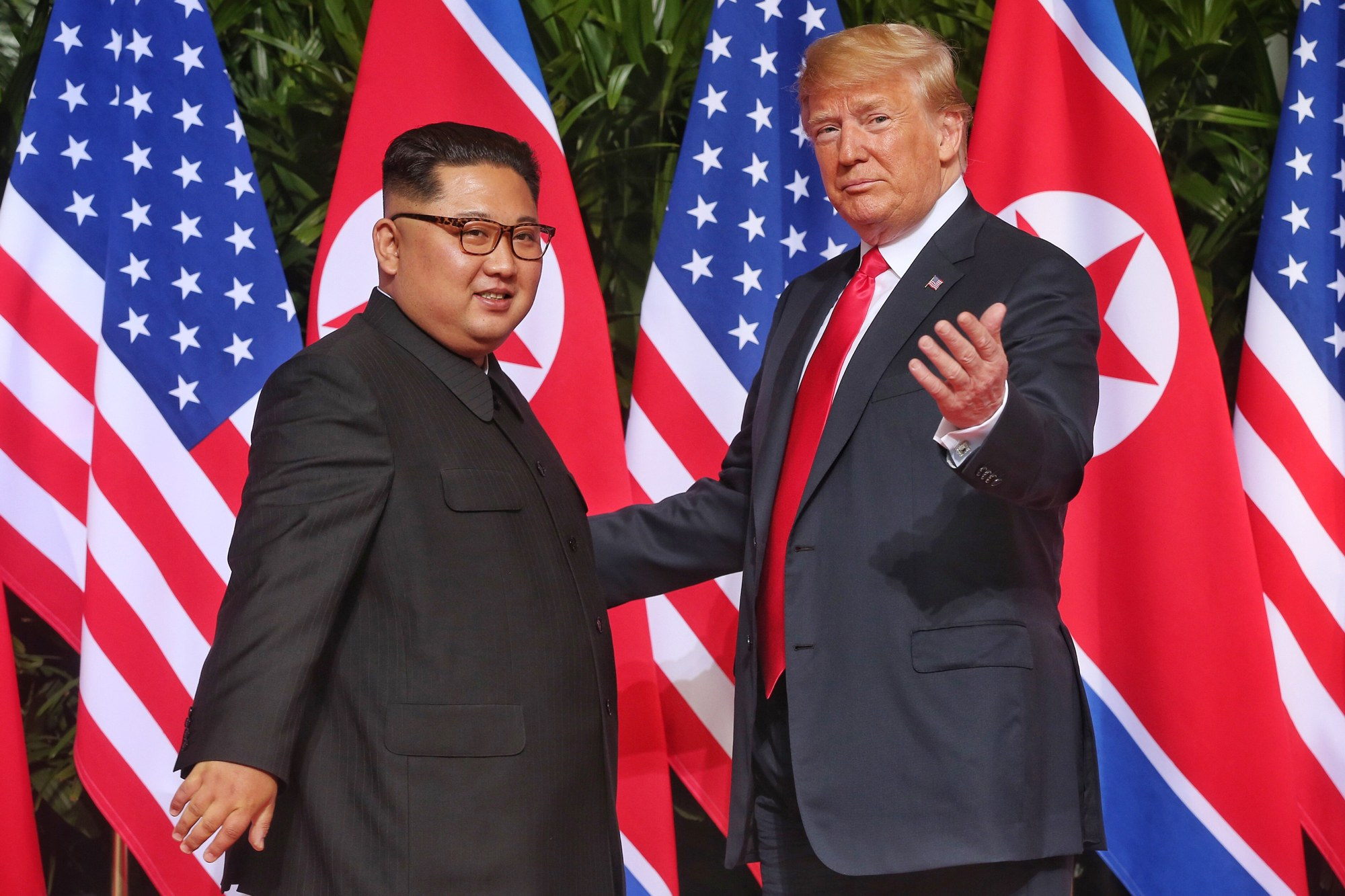 President Trump and Supreme Leader of North Korea Kim Jong-un at last month's Hanoi Summit ( Image )