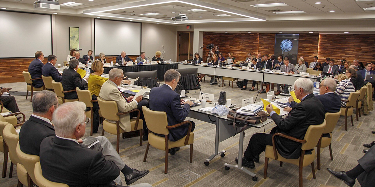 The University of North Carolina System's Board of Governors convening ( Image )