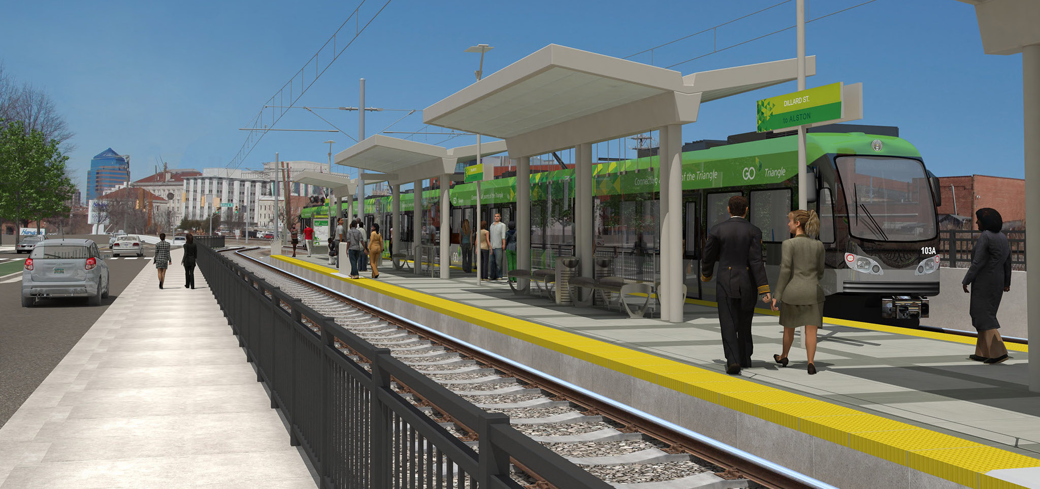 A mockup of the proposed light rail connecting the Durham and Orange County areas from GoTriangle ( Image )