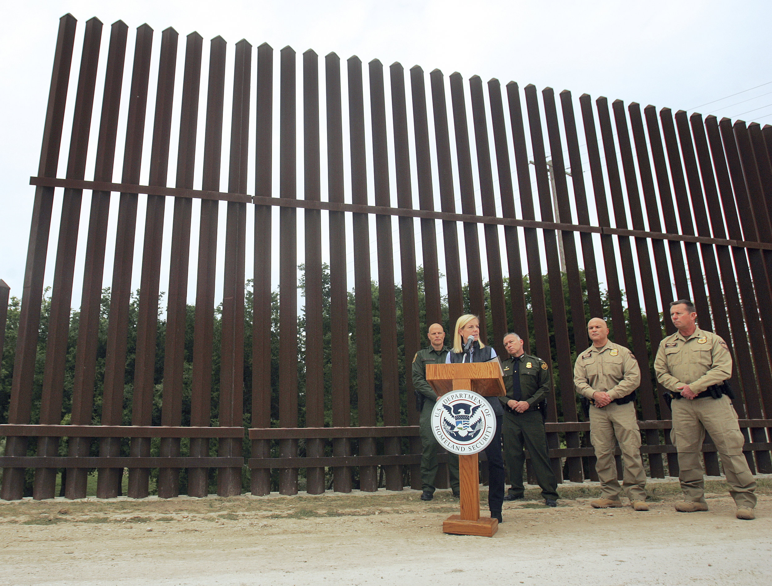Department of Homeland Security Secretary Kirstjen Nielsen speaks at a section of the U.S.-Mexico border in Hidalgo, Texas in 2017 ( Image )