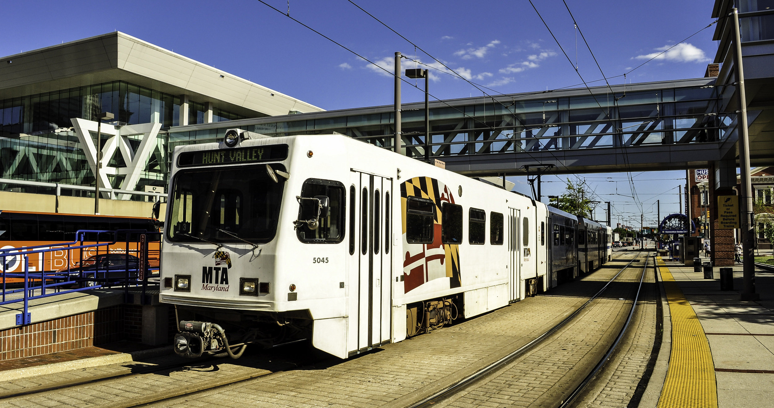 A Light RailLink car at Baltimore, Maryland's Convention Center station ( Image )