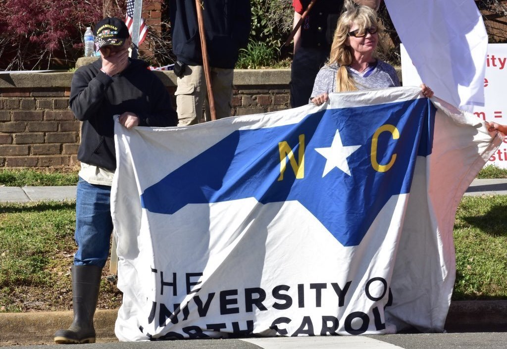 Heirs to the Confederacy activists demonstrate in Hillsborough last week ( Image )