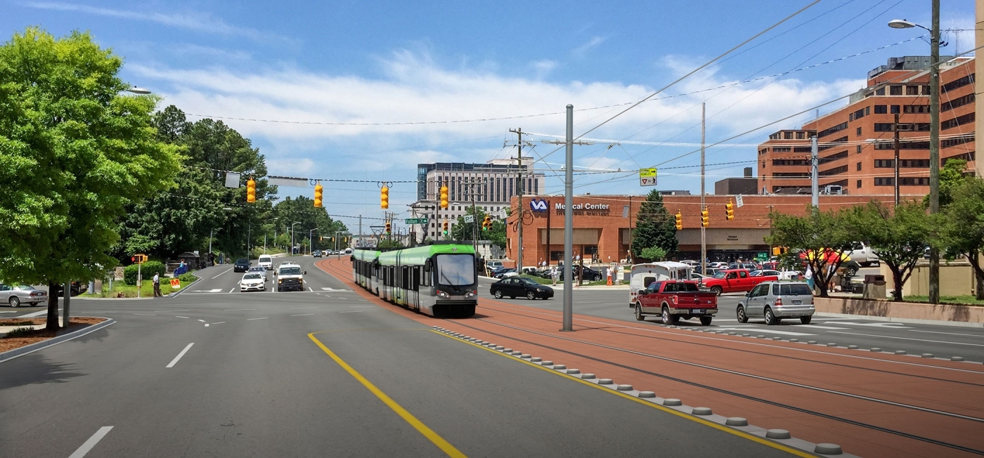 A mock-up of GoTriangle's now-defunct Durham-Orange Light Rail Transit Project ( Image )