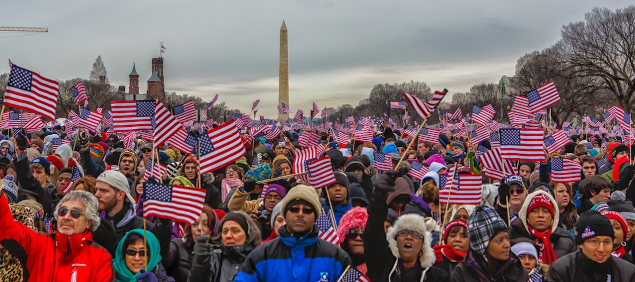 Americans look on in celebration of President Obama's second inauguration in 2013 ( Image )