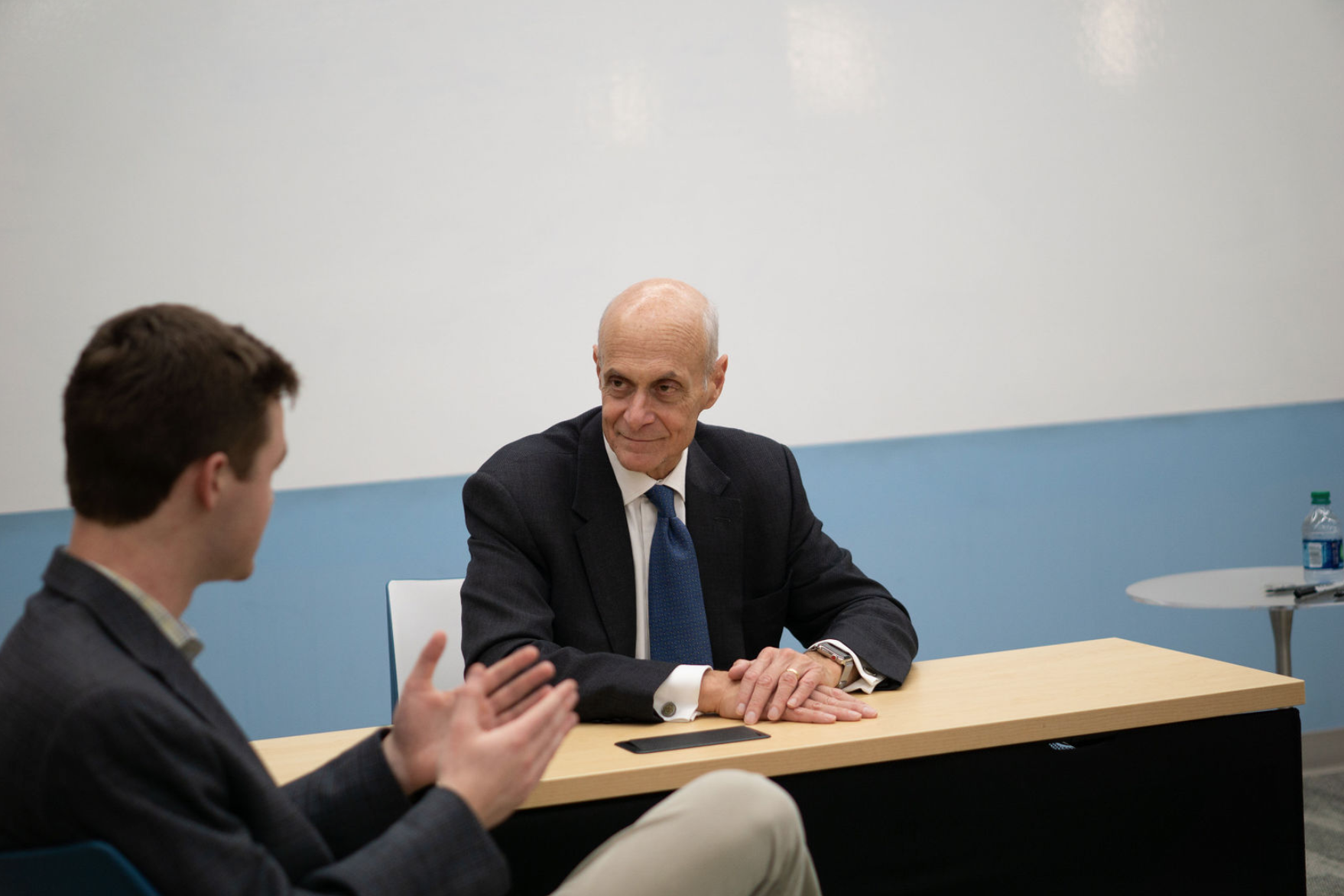 Former U.S. Secretary of Homeland Security Michael Chertoff with 2018-2019 Editor-in-Chief Parker Barth (Image:  Alexis Hinnant )
