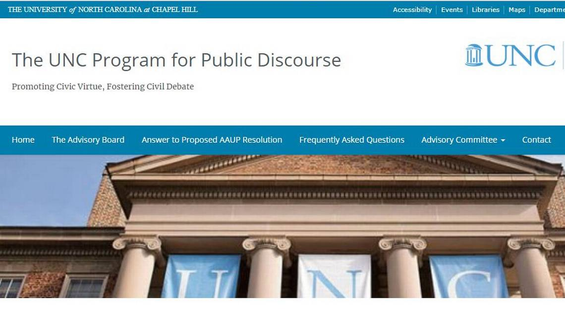 The website for the UNC Center for Public Discourse ( Image )