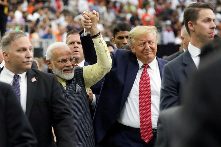 Indian PM Narendra Modi (left) visited Houston, Texas last week for a rally with political ally Donald Trump (right) ( Image )