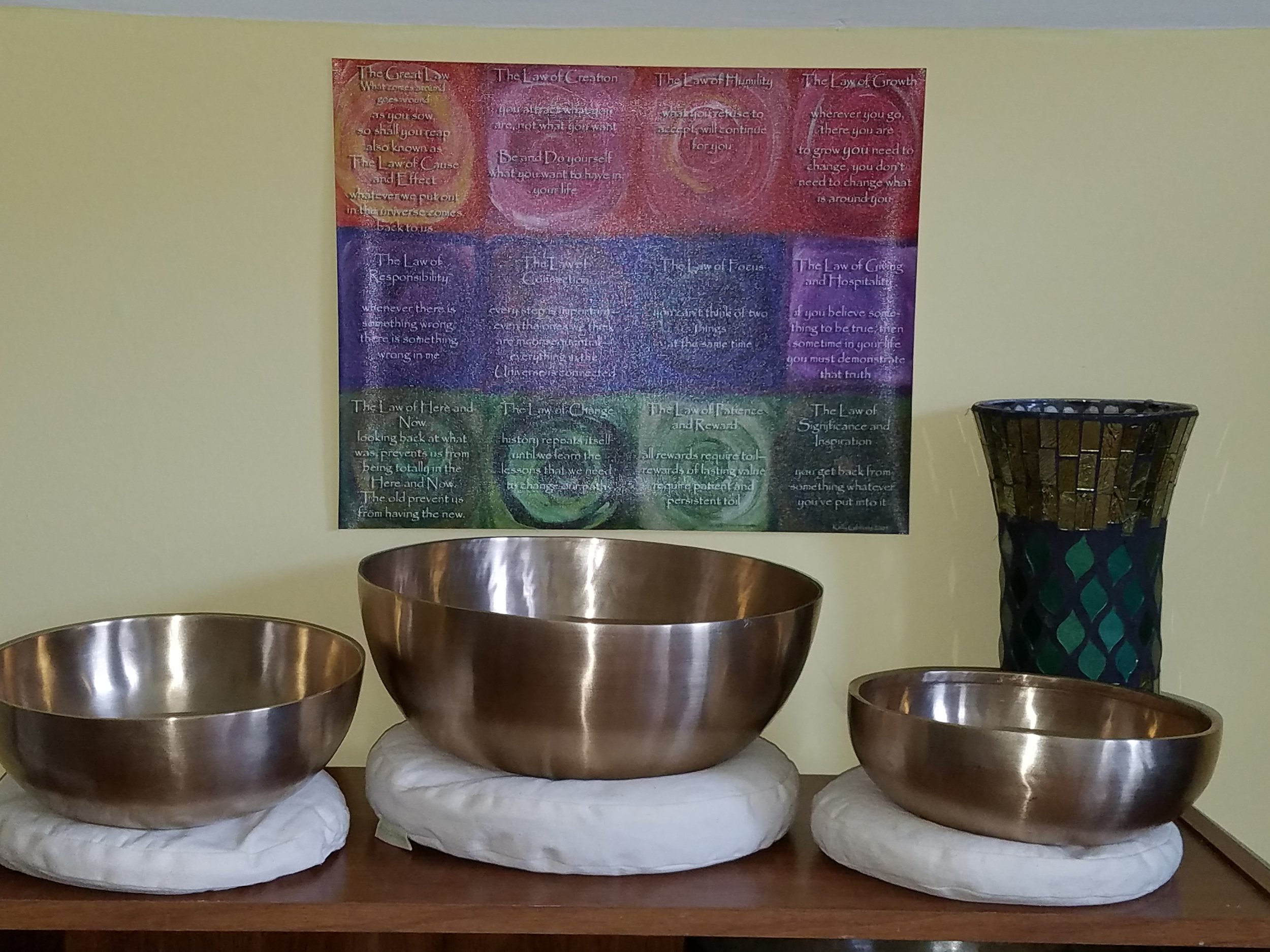 Zen therapeutic bowls can be placed on the body or off during sessions.
