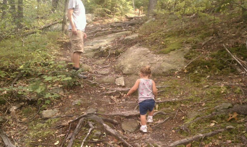 My daughter hiking Kidding Mountain around her second birthday.