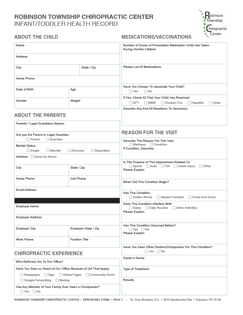 Infant / Toddle Intake Form