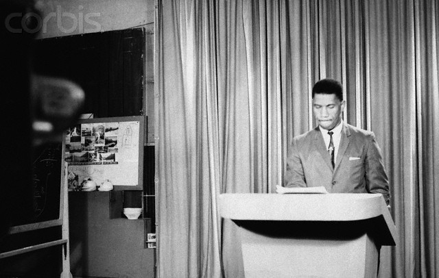 Medgar Evers speaks about race relations during a rare television broadcast featuring an African American on May 20, 1963. He was murdered less than a month later. © Bettmann/CORBIS
